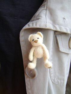 Needlefelt Brooch Bear Brooch Ready to Ship by BearVillage on Etsy, $19.00