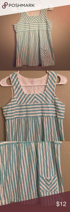 GENERRA Candy striped tank with pocket Adorable tank with light teal and white stripes. Square neckline and side front pocket. Size S. Generra brand from Anthropologie.  In good condition. Anthropologie Tops