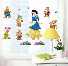ABC603 Cartoon Hófehérke Hercegnő és a hét törpe DIY Cserélhető falimatrica…