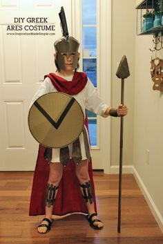 DIY Ares Greek Mythology Costume - Inspiration Made Simple Greek Mythology Costumes, Ancient Greek Costumes, Egyptian Costume, Roman Soldier Costume, Greek God Costume, Spartan Costume, Warrior Costume, Hades Costume, Toga Costume