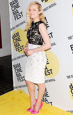 Elisabeth Moss rocked a floral lace top, textured white skirt, and bright pink pumps at the Queen of Earth premiere in Brooklyn.