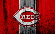 Download wallpapers 4k, Cincinnati Reds, grunge, baseball club, MLB, America, USA, Major League Baseball, stone texture, baseball