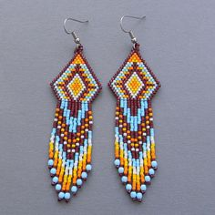Native American Seed Bead Patterns | ... seed bead earrings - dangle beaded earrings, Native American inspired