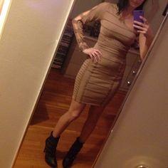 Tan bandage dress sz sm Bought online , never worn tan color bandage dress very pretty !! Wow couture Dresses