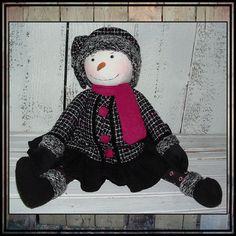 Handmade hand embroidered Folk Art snow lady doll by LucysLazyDayzFolkArt $35 #black and white #Winter doll #snowmen