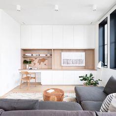 Home Room Design, Home Office Design, House Design, Modern Scandinavian Interior, Scandinavian Living, Living Room Built Ins, Living Room Decor, Tv Nook, Cedar And Moss