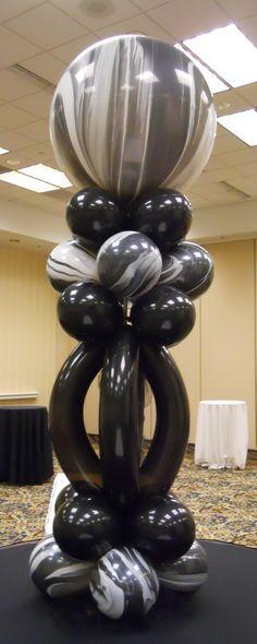 black and white super agate column w flair -  balloonstudiowichita.com
