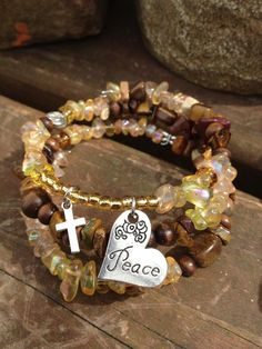 Heart of Faith: three wrap beaded memory wire bracelet with a cross on Etsy, $30.00