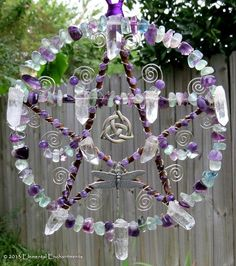 purple and white pentacle dreamcatcher   pagan