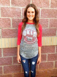 OU double design burnout baseball t-shirt