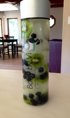Delicious Body By Vi Spa Fruit Water with Sweet Kiwi and Plump Blueberries..Perfectly yummy!  www.juliebaca.com