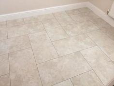 JD Flooring, Camaro Portico Limestone luxury vinyl tiles with Grey Grouting Strip