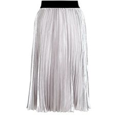 Grey Sateen Pleated Midi Skirt  | New Look
