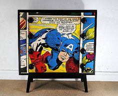 Upcycled Vintage Retro Chest of Drawers Captain America Marvel Comic Super Hero