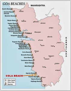 Location Map of Cola Beach Goa India - Decor Goa Travel, Travel Maps, Travel Posters, Italy Travel, Places To Travel, Paris Travel, Wanderlust Travel, Ireland Vacation, Ireland Travel