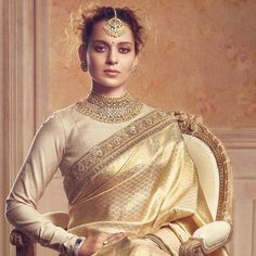 Kangana Ranaut styled by Sabyasachi for Harper's Bazaar Bride. She wears a Kanjeevaram saree from the designer's 'Vasanthalaxmi' Collection… Indian Dresses, Indian Outfits, Pakistani Outfits, Indian Clothes, Sabyasachi Sarees, Indian Sarees, Bollywood Saree, Bollywood Fashion, Silk Sarees