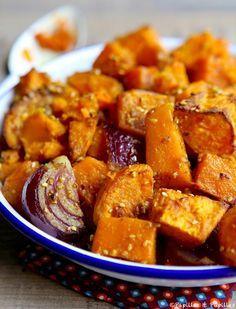 Butternut, patates douces et oignon rouge aux épices graines de coriande de sésame noisettes amandes curry cumin