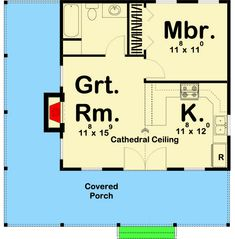 Cozy Vacation Retreat - floor plan - Main Level Best Picture For Granny pods backyard cottag Small Cabin Plans, Small Cottage House Plans, Small Log Cabin, Porch House Plans, Small House Floor Plans, Cottage Floor Plans, Cabin Floor Plans, Tiny House Cabin, House With Porch