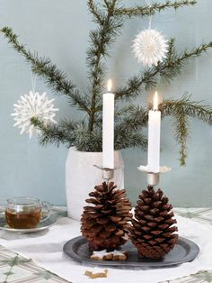 5 DIY ideas: Creative crafts with cones - Pine and pine cones are the main actors in this Christmas crafting special. We make from them wreat - All Things Christmas, Christmas Crafts, Christmas Decorations, Xmas, Christmas Ornaments, Diy Candles Design, Navidad Diy, Ideas Navidad, Pine Cone Crafts