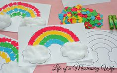 Life of a Missionary Wife: Simple Rainbow Craft Toddler Learning Activities, Montessori Activities, Kindergarten Activities, Preschool Activities, Diy Crafts Hacks, Paper Crafts For Kids, Diy For Kids, Diy And Crafts, Rainbow Crafts