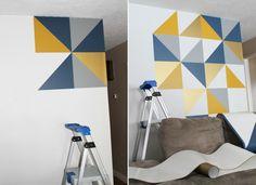 kreative wandgestaltung wandgestaltung farbgestaltung dreiecke kontrastrecih