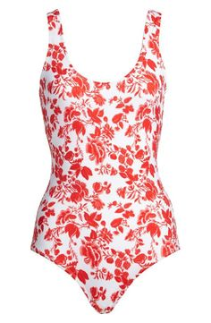 Will be relaxing on the beach in this red floral one-piece swimsuit.