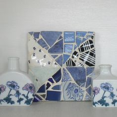 Blue and White Vintage Broken China Mosaic Wall by michelewebber, £28.00