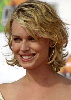 Curly Hair Cut Medium Length. Rebecca Romijn. Short To Medium Blonde ...
