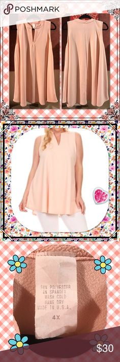 """Plus sized Blush Sleeveless Tunic V neck, 96% Poly/4% Spandex. See pic for care instructions. 4X: 33"""" L, 46"""" B. Would be beautiful paired with the floral leggings I have in a separate listing!  If you wish to purchase the entire outfit, let me know and we can talk!  Tops Tunics"""