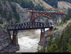 Cisco Bridges spanning the Fraser River at Siska British Columbia Canadian Pacific Railroad bridge in foreground amp Canadian National Railroad bridge in background with CPR train on it Fraser Canyon, Fraser River, Canada Pictures, Canadian Pacific Railway, Railroad Bridge, Railroad Pictures, Across The Bridge, Old Trains, Ferrat
