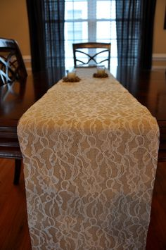 Lace and Burlap Table Runner - custom made lengths - Lace Over Burlap Table Runner