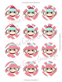 DIY Instant Download Cupcake Toppers/Stickers, Sock Monkey Inspired-Pink-Turquoise-Polka Dot-Stripe-Birthday-Shower