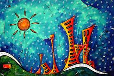 Eclectic Fun Funky Cityscapes Whimsical Art for Licensing MADART ...