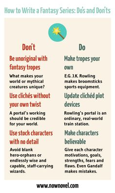 Learn how to write fantasy series with examples of using tropes originally from J. Rowling, Sir Terry Pratchett and others. Writing Prompts For Writers, Book Writing Tips, Writing Promps, Writing Words, English Writing, Fiction Writing, Writing Resources, Writing Help, Writing Skills