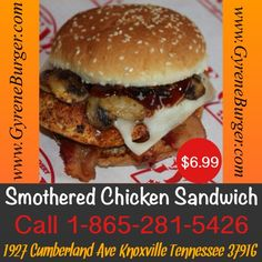 Featuring Gyrene Burger's….  Smothered Chicken Sandwich Freshly grilled chicken breast, Texas-smoked bacon, sauteed mushrooms, melted Swiss cheese served with a sweet and tangy barbecue sauce on a sesame seed bun.  Price: $6.99   ************************************************* Order Online Now ➡️  www.GyreneBurger.com  #burger #knoxville #burgers #fortsanders #tennessee #cumberland #knoxvillebestburger #gyreneburgerkx #freeburgerdelivery #freshburger #nonfrozenburger…