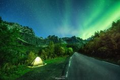 """Aurora Road Camp - Aurora Road Camp   One of the very few ( couple) of Aurora images I have. This one was captured in Loften September 2014 on what was a crazy 5000klm road trip in 10 days half of that well & truly a wash out. I long to chase these lights again. This is not perfect but still nonetheless a memorable night.  Lots of exciting new things in the pipe line You can find me at →→→→→→ : )  <a href=""""https://www.eyeofalens.com"""">Website</a>  <a></a><a href=""""https://www.facebook.com/..."""