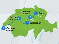 Map with itinerary route in Switzerland