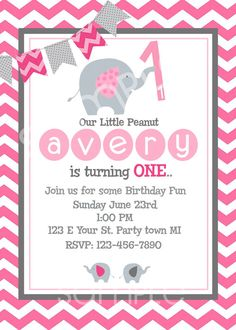 Elephant Birthday Invitation First Pink Baby Girl