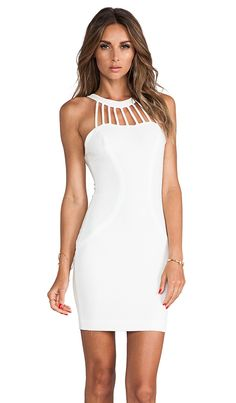 DRESS THE POPULATION Erin Mini Dress in Eggshell