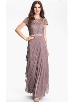 LAYERED CHIFFON AND LACE GOWN, $258, ADRIANNA PAPELL, NORDSTROM.COM
