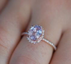 Mauve Sapphire Ring Rose Gold Engagement Ring by EidelPrecious