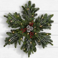 Search for 24 evergreen snowflake wreath All Things Christmas, Holiday Fun, Christmas Holidays, Christmas Wreaths, Christmas Decorations, Christmas Ornaments, Christmas Morning, Snowflake Wreath, Diy Wreath