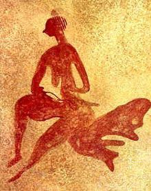 Female figure at the Tassili n'Ajjer mountain range. Gravure rupestre du Tassili (Algérie) datée de 4000 av. J.-C.