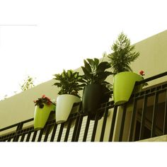 Urban/balcony/fence container gardening. These pots are perfect for narrow rails.  It works on round railing too.