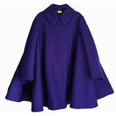 Alaia Indigo Virgin Wool Coat (34.930 ARS) ❤ liked on Polyvore featuring outerwear, coats, jackets, tops, capes, indigo, flared coat, blue cape, virgin wool coat and cape coat