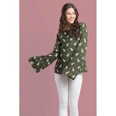 4ef0c6d97035f Folle Green Elephant Satin Full Sleeves Top  shop this  elephant  print  top