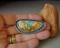 Turquoise Brooch Boulder Turquoise Nevada Boulder by betsybensen