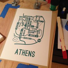 """Athens, Ohio street map poster printed with environment-friendly ink on premium 80# cover stock paper. Paper color is """"Pure White"""" and the ink is """"Emerald Green"""". Print is 13"""" x 19"""". Looks great in a dorm room or office. Great gifts for college students. Ohio State Alumni Gift"""