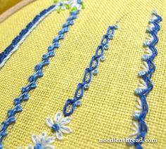 Knotted Chain Stitch or Braid Stitch Variation - stitch tutorial from needlenthread.com