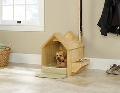 A wooden dog house in the backyard is iconic and a tradition for many dog lovers to own, but here comes a stylish indoor dog house by Sauder. It is made from pine wood, and features all the cool little bits and gadgets you could need for your furry friend.